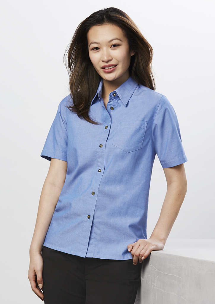 Wrinkle Free Chambray Ladies S/S Shirt LB6200