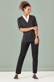 Womens Zip Front Short Sleeve Knit CK962LC