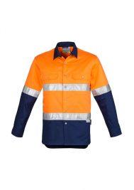 Mens Hi Vis Spliced Industrial Shirt - Hoop Taped ZW123