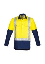 Mens Hi Vis Spliced Industrial Shirt - Shoulder Taped ZW124