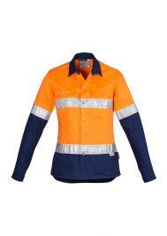 Womens Hi Vis Spliced Industrial Shirt - Hoop Taped ZWL123