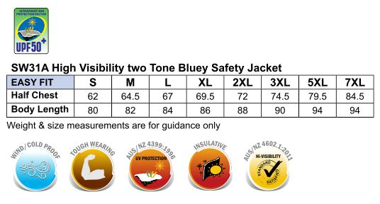AIW Hi-Vis Two Tone Bluey Jacket with 3M Tapes SW31A ...